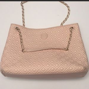 Tory Burch Light Pink Quilted Marion Tote